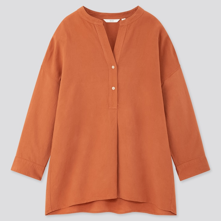 Women Linen Blend Skipper Collar 3/4 Sleeve Shirt, Orange, Large