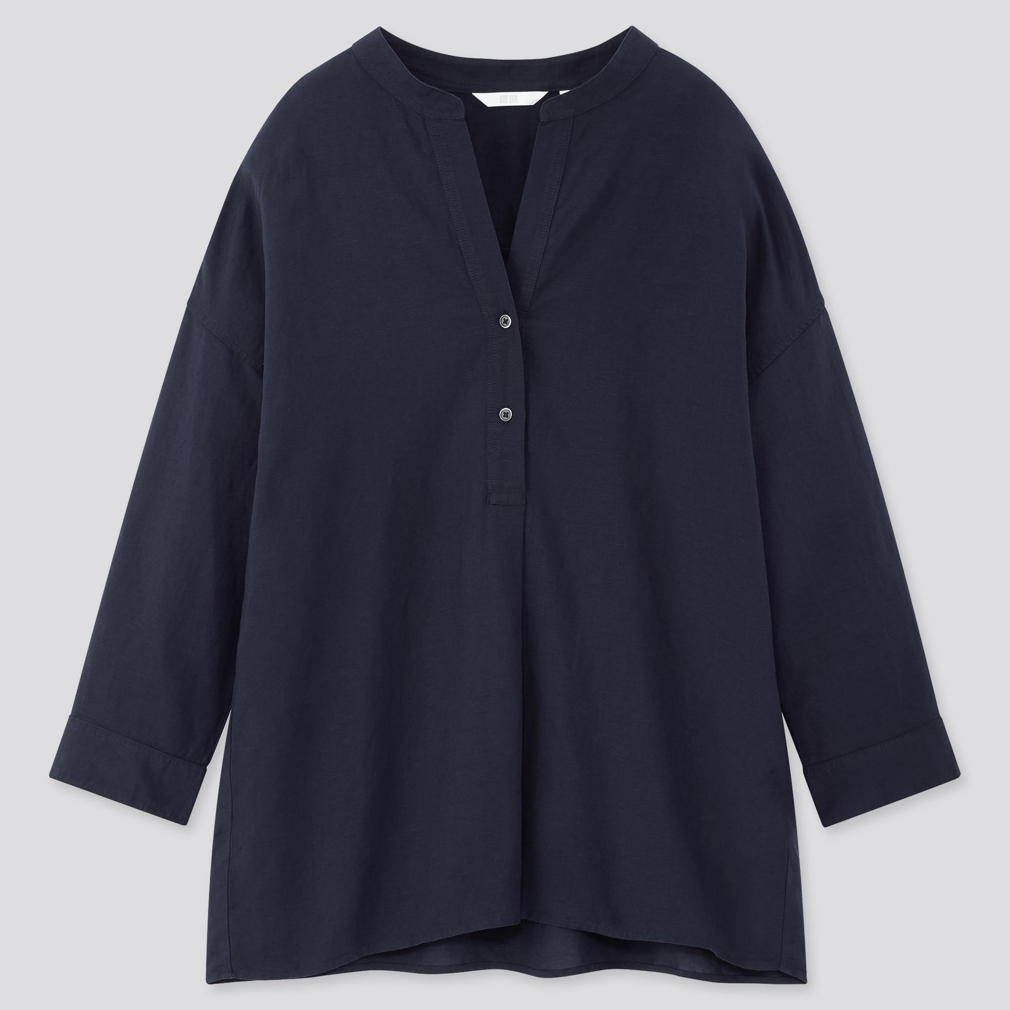 Women Linen Blend Skipper Collar 3/4 Sleeved Shirt