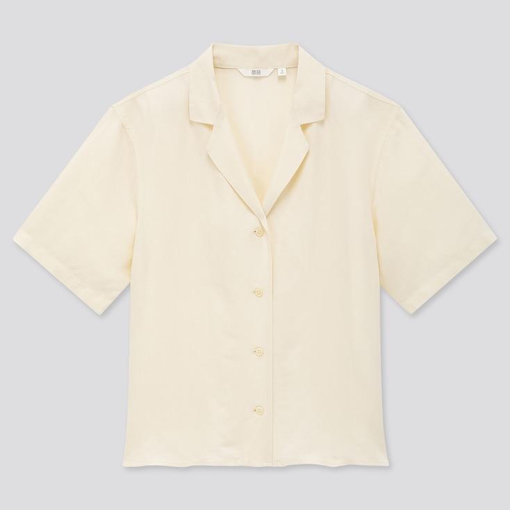 Women Linen Blend Short-Sleeve Shirt, Off White, Large