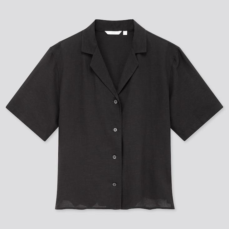 Women Linen Blend Short-Sleeve Shirt, Black, Large