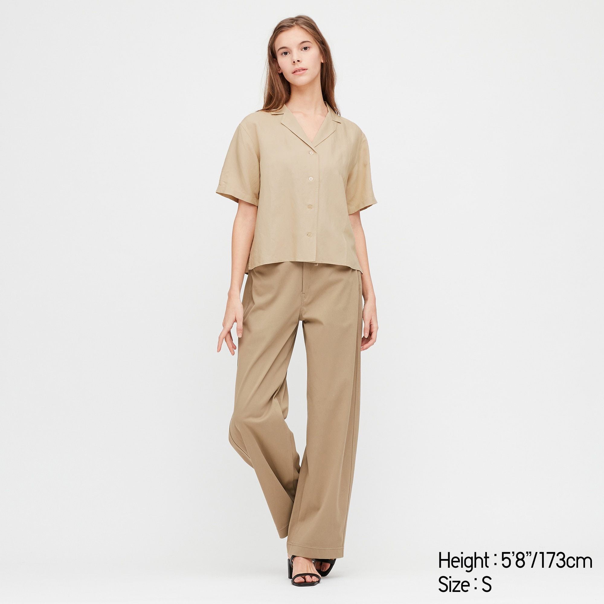 women linen blend short-sleeve shirt