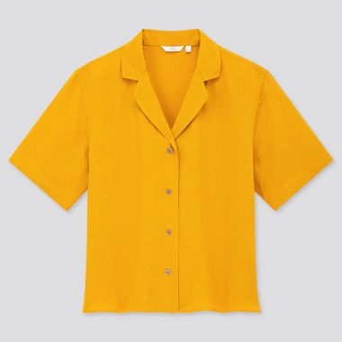 Women Linen Blend Short-Sleeve Shirt, Yellow, Medium