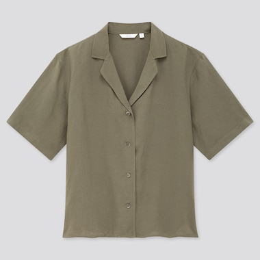 Women Linen Blend Short-Sleeve Shirt, Olive, Medium