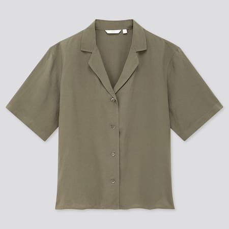 Women Linen Blend Open Collar Short Sleeved Shirt