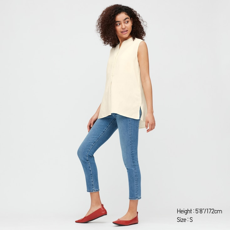 Women Linen Blend Sleeveless Shirt, Off White, Large
