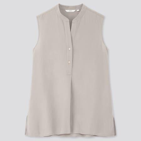 Damen ärmellose Bluse aus Leinenmix mit Skipper-Kragen