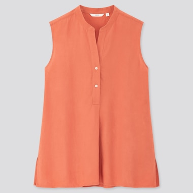 Women Linen Blend Sleeveless Shirt, Pink, Medium