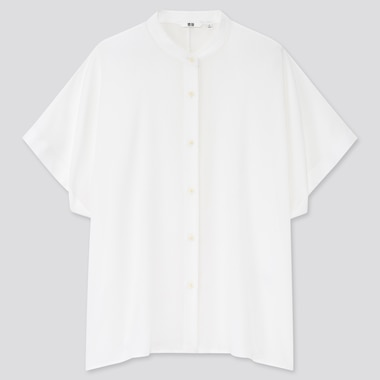Women Rayon Stand Collar Short-Sleeve Blouse, White, Medium