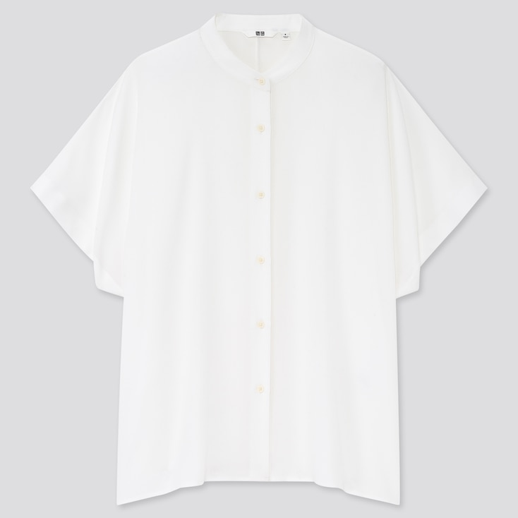 Women Rayon Stand Collar Short-Sleeve Blouse, White, Large
