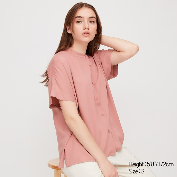 Women Rayon Stand Collar Short-Sleeve Blouse, Pink, Large