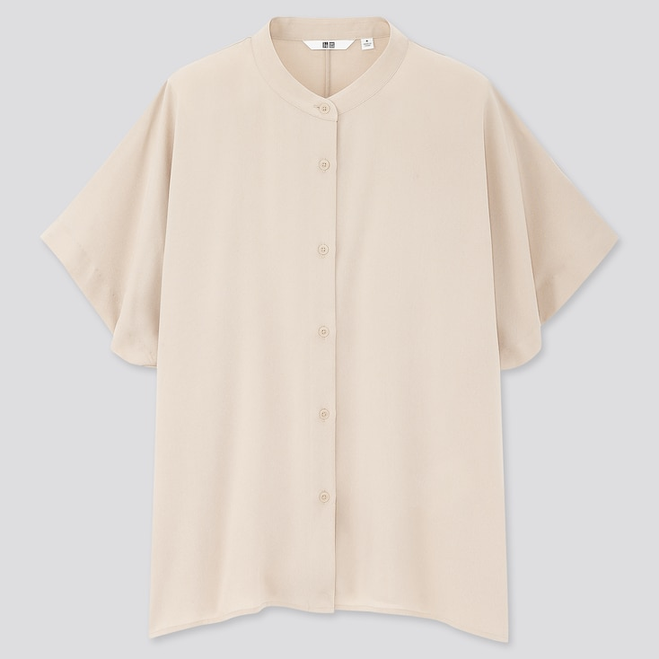 Women Rayon Stand Collar Short-Sleeve Blouse, Natural, Large