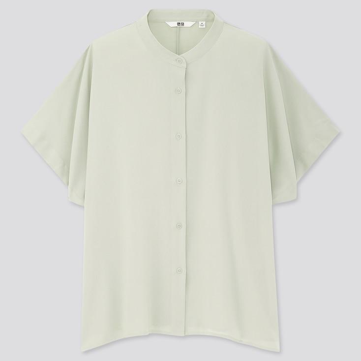 Women Rayon Stand Collar Short-Sleeve Blouse, Light Green, Large