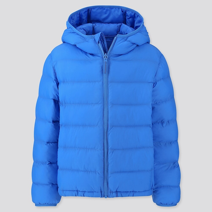 Kids Light Warm Padded Parka, Blue, Large