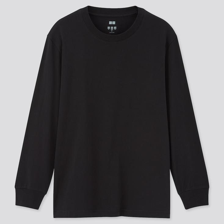Men Airism Uv Protection Long-Sleeve T-Shirt, Black, Large