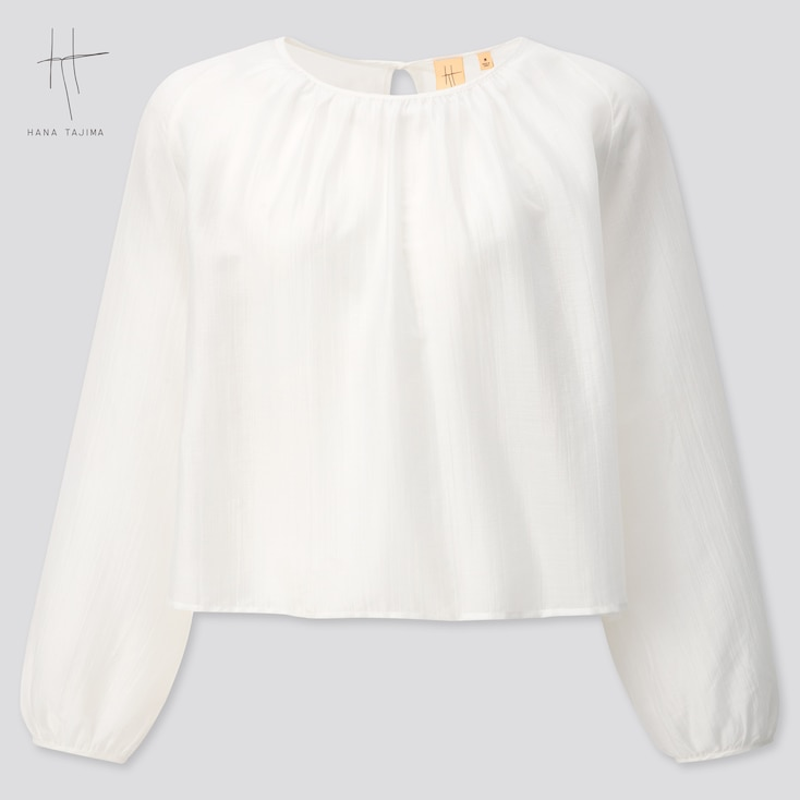 Women Crepe Gathered Long-Sleeve Blouse (Hana Tajima) (Online Exclusive), White, Large