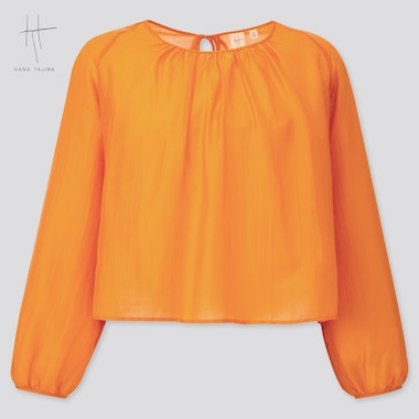 Women Crepe Gathered Long-Sleeve Blouse (Hana Tajima) (Online Exclusive), Orange, Medium