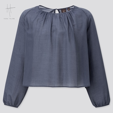 Women Crepe Gathered Long-Sleeve Blouse (Hana Tajima) (Online Exclusive), Navy, Medium