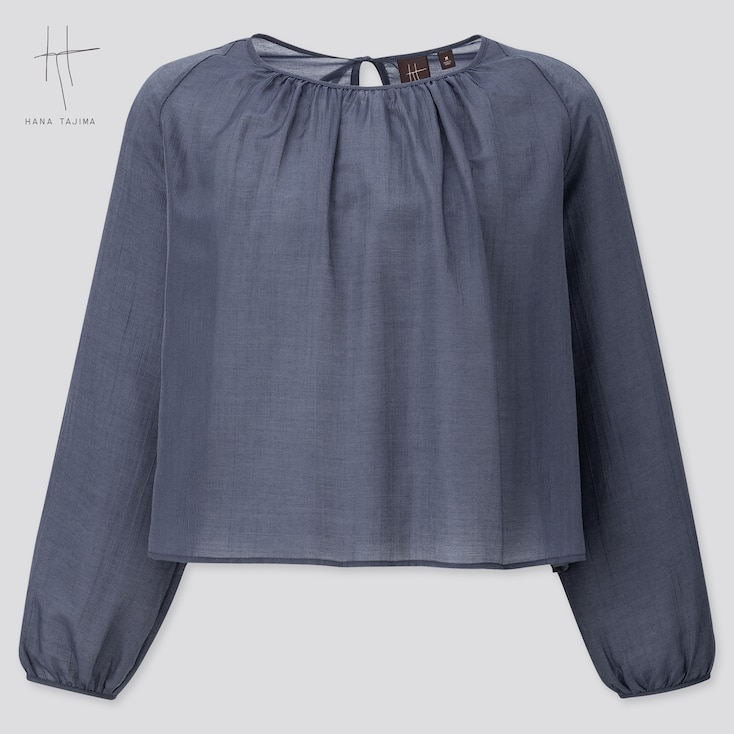 Women Crepe Gathered Long-Sleeve Blouse (Hana Tajima) (Online Exclusive), Navy, Large