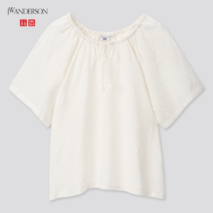 Women Gathered Short-Sleeve Blouse (Jw Anderson), Off White, Large