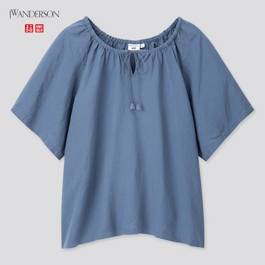 Women Gathered Short-Sleeve Blouse (Jw Anderson), Blue, Medium