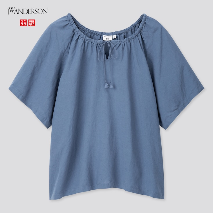 Women Gathered Short-Sleeve Blouse (Jw Anderson), Blue, Large