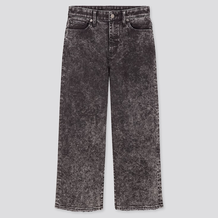 Women High-Rise Wide Cropped Jeans, Gray, Large