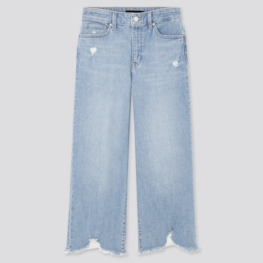 Women High-Rise Wide Cropped Jeans, Blue, Medium