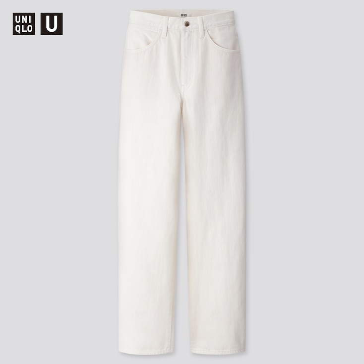 Women U Wide-Fit Curved Jeans, White, Large