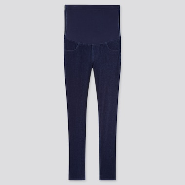 Women Maternity Denim Leggings Pants (Online Exclusive), Navy, Medium