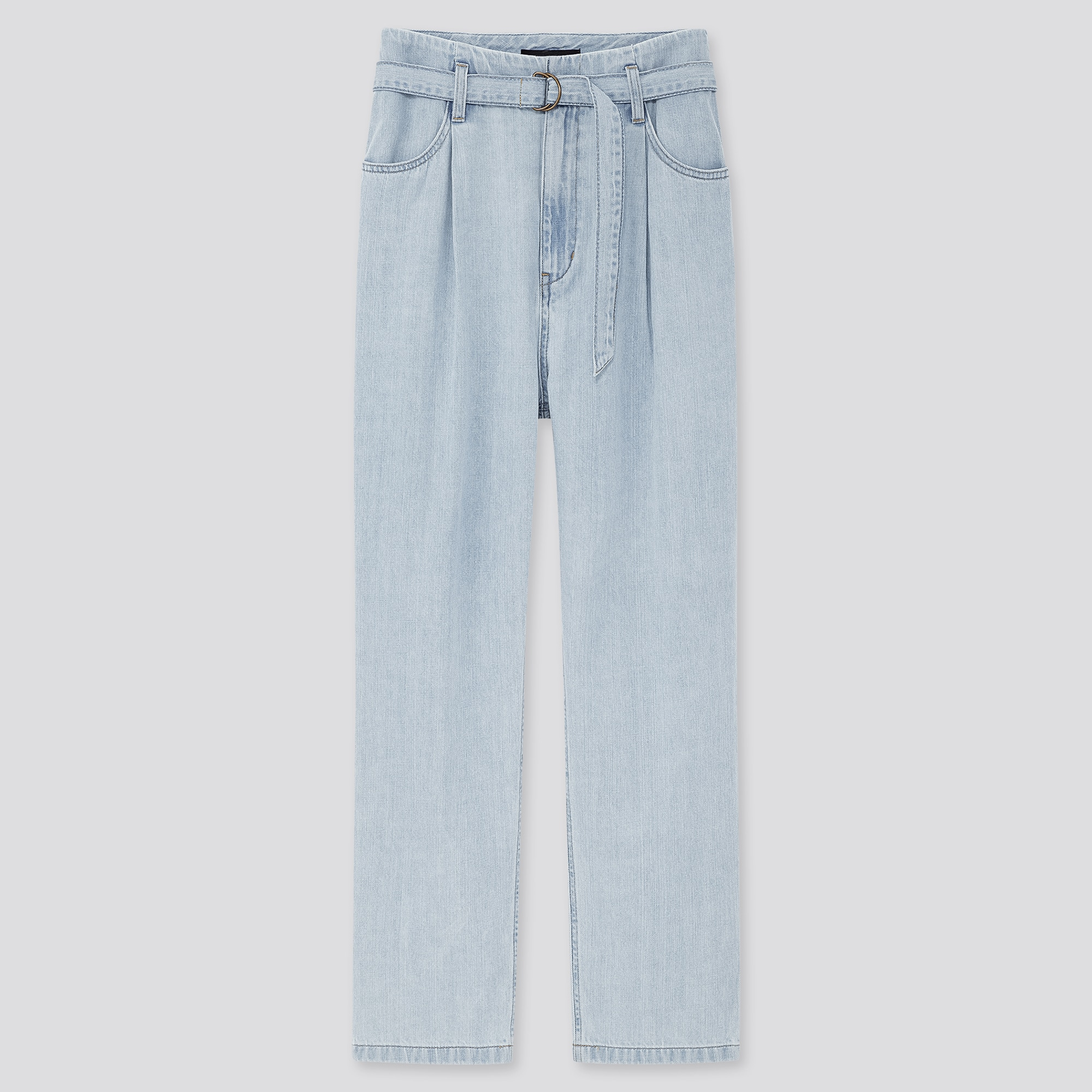 WOMEN HIGH RISE BELTED PLEATED JEANS