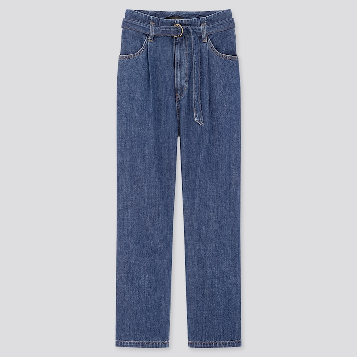 Women Belted Pleated Jeans, Blue, Large