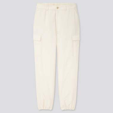 Women Loose Fit Cargo Jogger Pants, Off White, Medium
