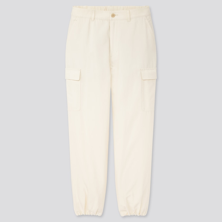 Women Loose Fit Cargo Jogger Pants, Off White, Large