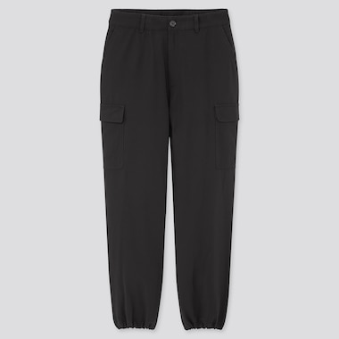 Women Loose Fit Cargo Jogger Pants, Black, Medium