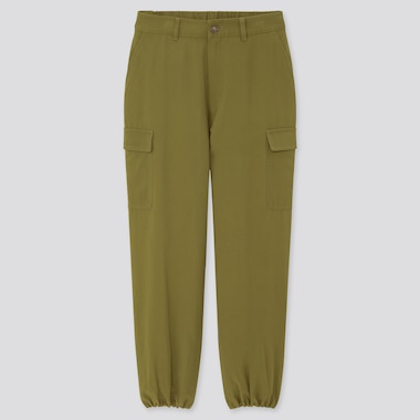 Women Loose Fit Cargo Jogger Pants, Olive, Medium
