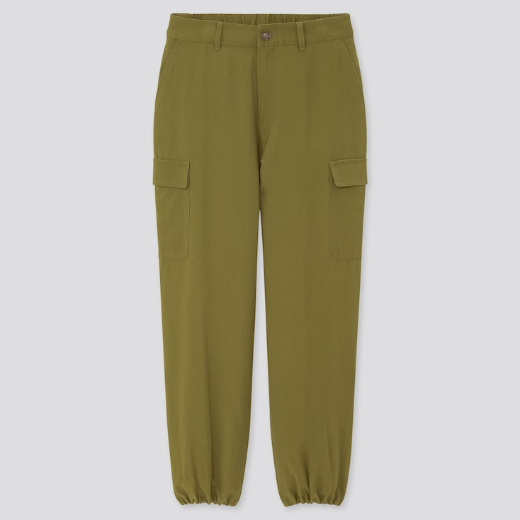Women Loose Fit Cargo Jogger Pants, Olive, Large
