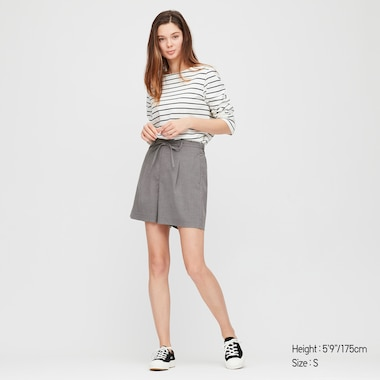 Women Belted Smart Shorts, Gray, Medium