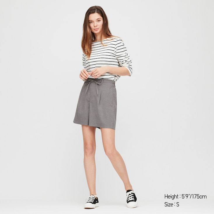 Women Belted Smart Shorts (Online Exclusive), Gray, Large