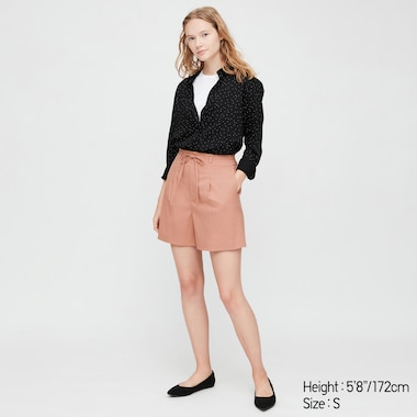 Women Belted Smart Shorts (Online Exclusive), Pink, Medium