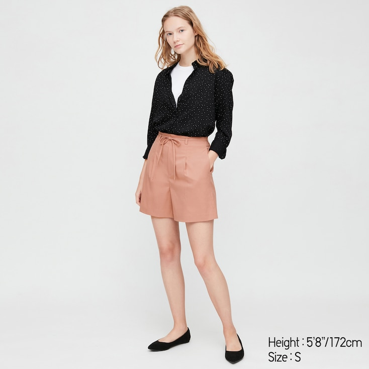 Women Belted Smart Shorts (Online Exclusive), Pink, Large