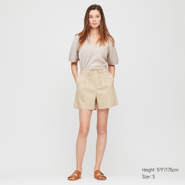 Women Belted Smart Shorts, Beige, Medium