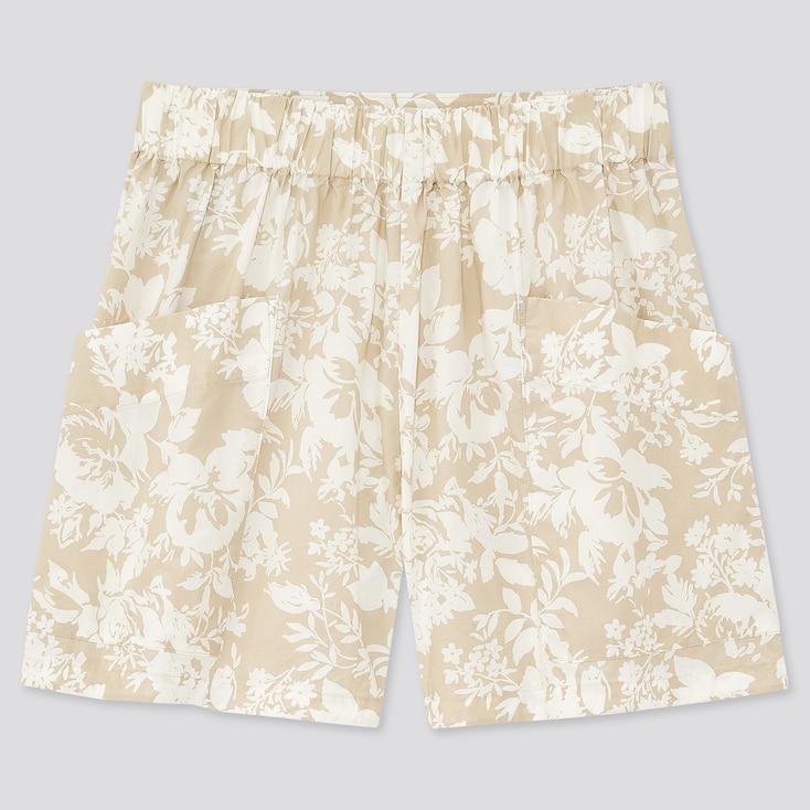 Women Joy Of Print Cotton Poplin Cargo Shorts, Natural, Large