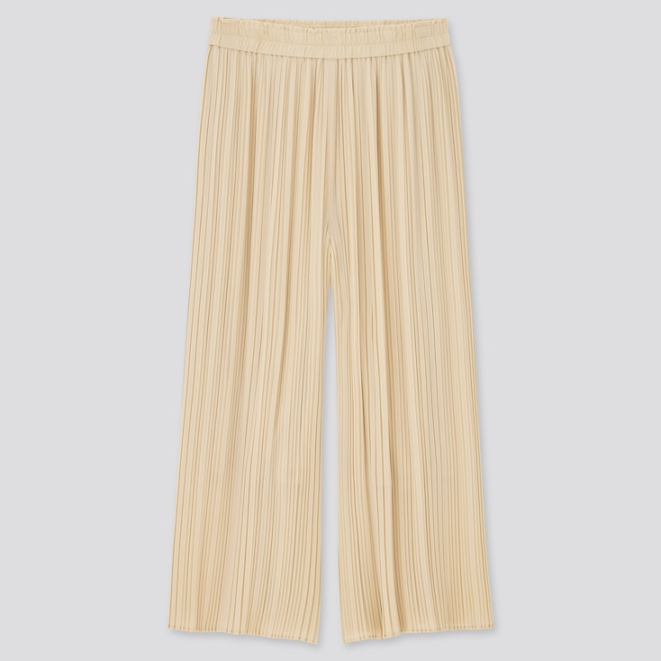 Women Chiffon Pleated Skirt Pants, Natural, Large