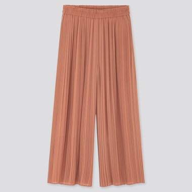 Women Chiffon Pleated Skirt Pants, Brown, Medium