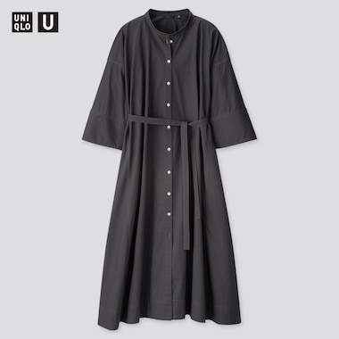 Women U Stand Collar 3/4 Sleeve Shirt Dress, Dark Gray, Medium