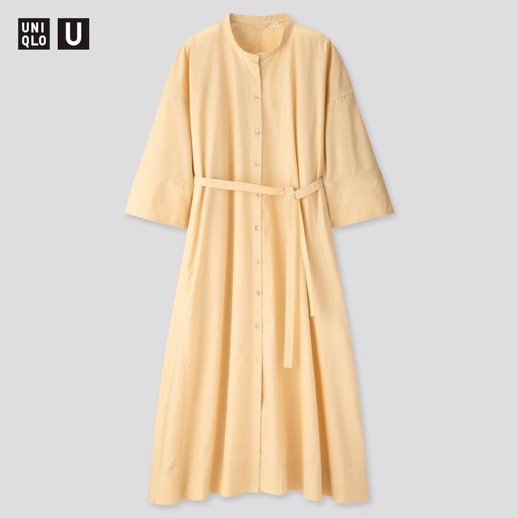 Women U Stand Collar 3/4 Sleeve Shirt Dress, Cream, Large