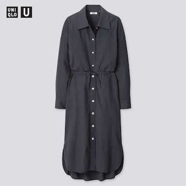 Women U Drawstring Long-Sleeve Shirt Dress, Dark Gray, Medium