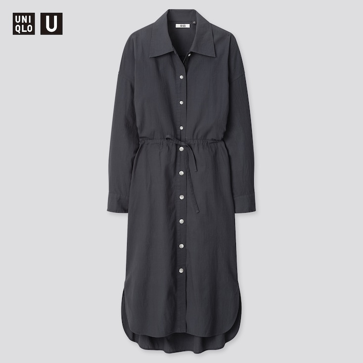 Women U Drawstring Long-Sleeve Shirt Dress, Dark Gray, Large