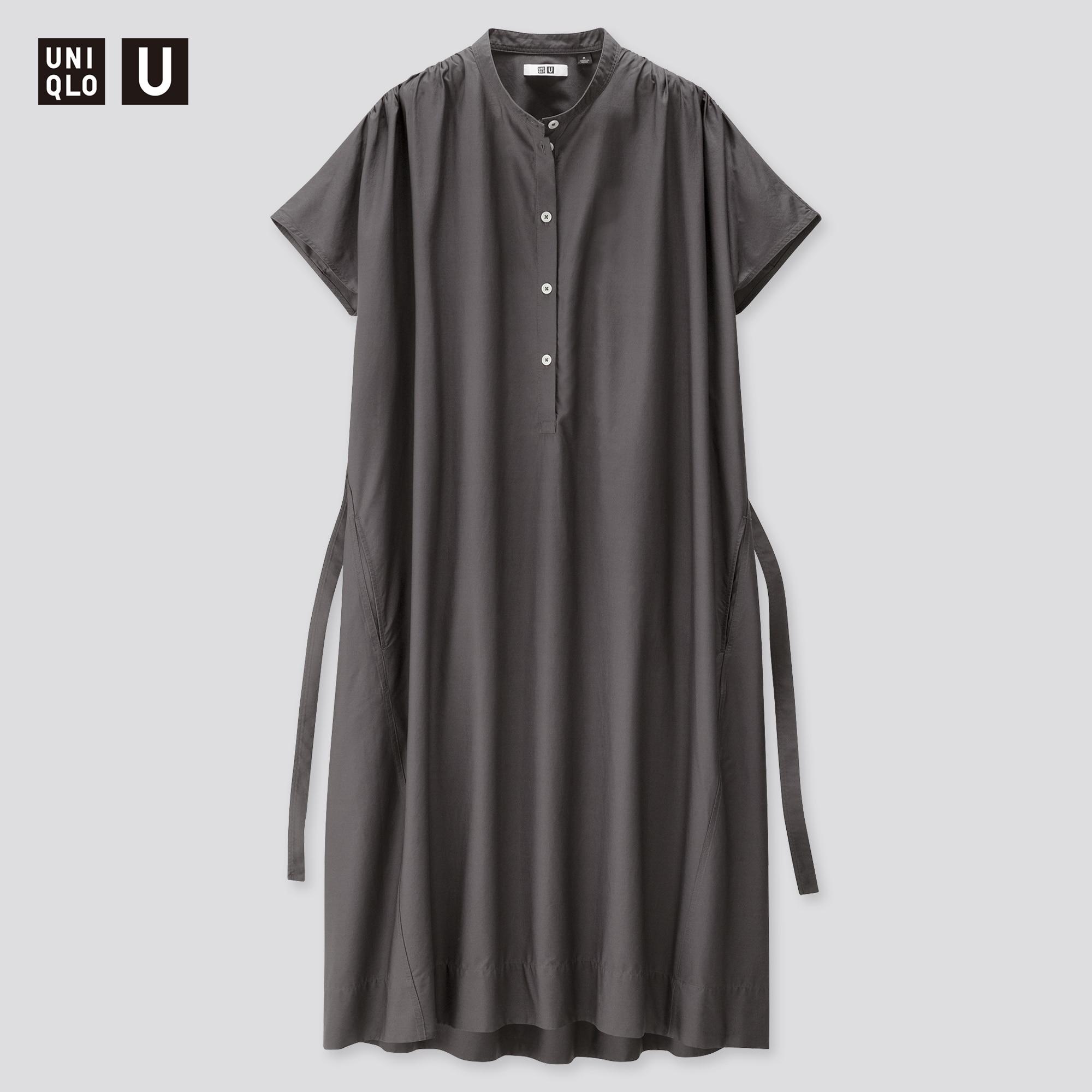Women Uniqlo U Parachute Short Sleeved Shirt Dress