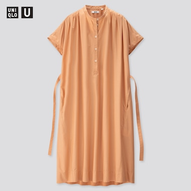 Women U Parachute Short-Sleeve Shirt Dress, Orange, Medium